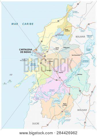 Administrative, Political And Roads Vector Map Of The Metropolitan Area Of Cartagena De Indias, Colo