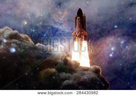poster of Spacecraft launch into space. Beauty of outer space. Billions of galaxies in the universe. Elements of this image furnished by NASA