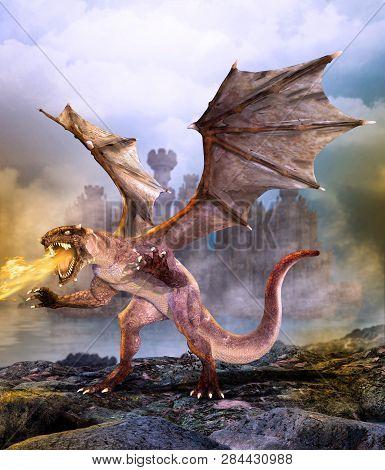 Fantasy Scene Dragon Attacking Castle, 3d Render Painting