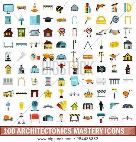 100 Architectonics Mastery Icons Set In Flat Style For Any Design Illustration