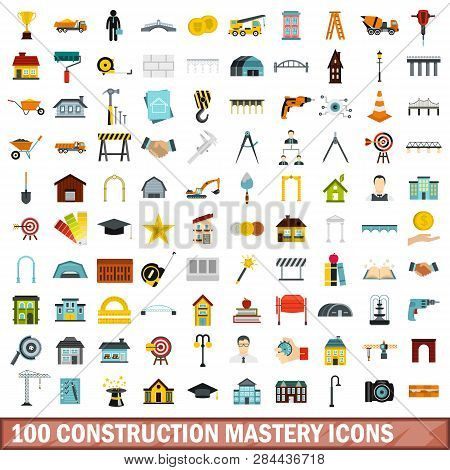 100 Construction Mastery Icons Set In Flat Style For Any Design Illustration