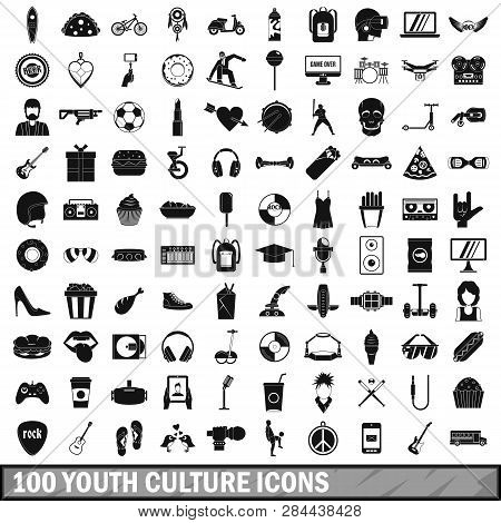 100 Youth Culture Icons Set In Simple Style For Any Design Illustration