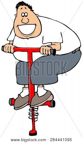 Illustration Of A Fat Man Jumping Up And Down On A Red Pogo Stick.