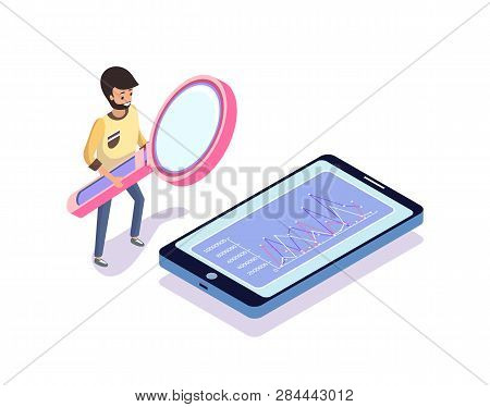Man Looking At Chart In Phone, Standing Person Holding Magnifier, Growth On Screen. Human Holding Bi