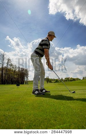 Man Playing Golf At Sunny Day, Filtered Image