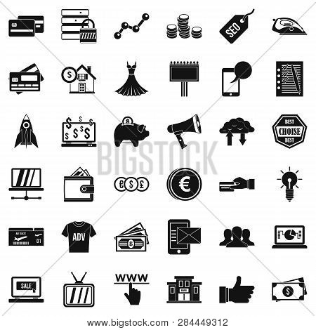 Online Buying Icons Set. Simple Style Of 36 Online Buying Icons For Web Isolated On White Background