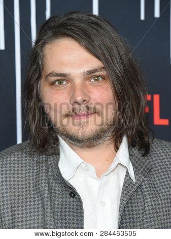 LOS ANGELES - FEB 07:  Gerard Way arrives for the Netflix's 'The Umbrella Academy' Premiere - Season 1 on February 07, 2019 in Westwood, CA