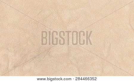 Light Beige Color Luxury Genuine Cow Leather Texture Background. Close Up Photography Of Sofa, Chair