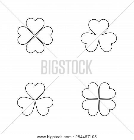 Flat Line Monochrome Clover Leaf Symbol Set For Web Sites And Apps. Minimal Simple Black And White C