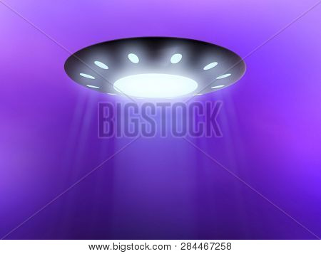 Flying saucer in subspace, science fiction 3D graphics. illustration