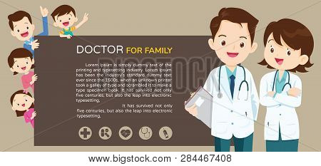 Doctor And Family With Children Healthcare Background Poster.doctor For Family And Kids Banner,layou
