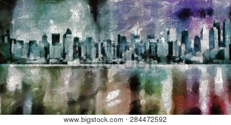 Painting on canvas. New York. Manhattan skyline. 3D rendering