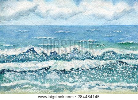 Seascape, Stormy Sea, Clouds On The Horizon