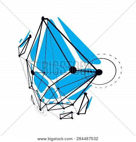 Abstract Vector Construction, Dimensional Low Poly Design Background. Innovation Technologies Abstra