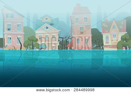 Damaged By Natural Disaster Flood Houses And Trees Partially Submerged In The Water In Cartoon City