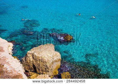 Rock And Turquoise Sea - Lecce, Puglia, Italy