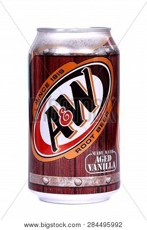 Novyy Urengoy, Russia - February 11, 2019: Aluminium Can Of The A&w Root Beer Isolated Over White Ba