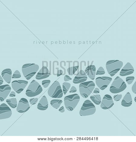 River Pebbles Hand Drawn Vector Illustration. Striped Rock Blue Underwater Texture. Ocean Gravel Fla