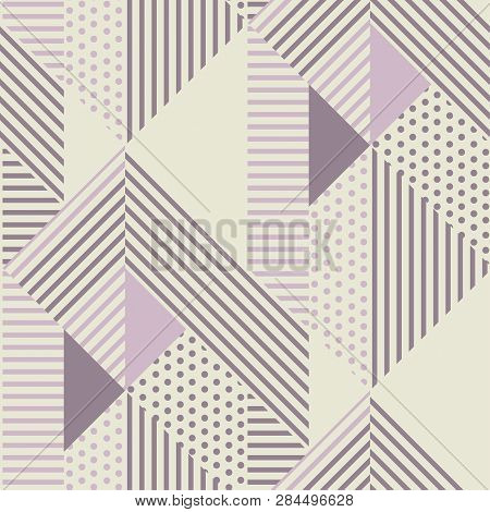 Geometric Striped Seamless Pattern In Scandinavian Dust Rosy Colors. Abstract Geometry Repeatable Mo