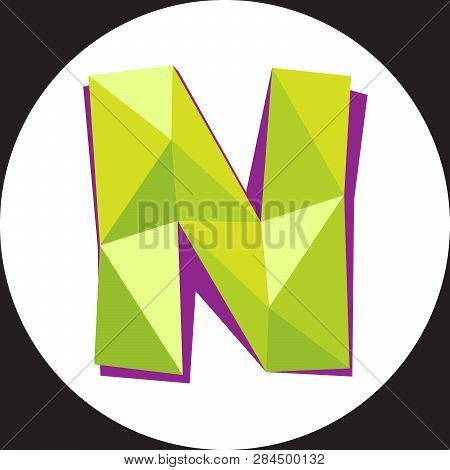 Vector Illustration Of Letter N In Origami Style. Polygonal Colorful Letter Isolated On White Backgr