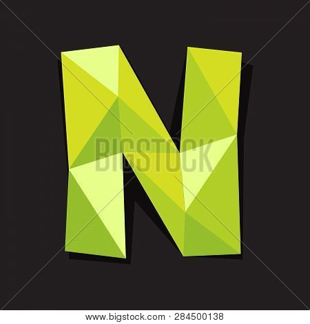Vector Illustration Of Letter N In Origami Style. Polygonal Colorful Letter Isolated On Black Backgr