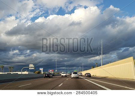 Phoenix, Az - February 2, 2019:  Dense Storm Clouds Moving In North Phoenix Metro Area Right Above I