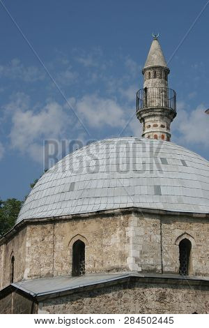 a minaret in Pecs with blue sky poster