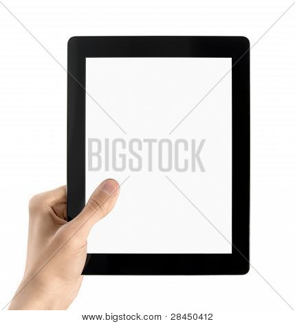 Man hands are holding electronic tablet with blank screen. Isolated on white. poster
