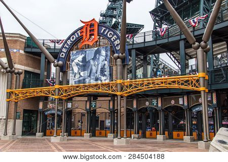 Detroit, Michigan, Usa - March 28, 2018: Exterior Of Comerica Park Home To The Detroit Tigers. The B
