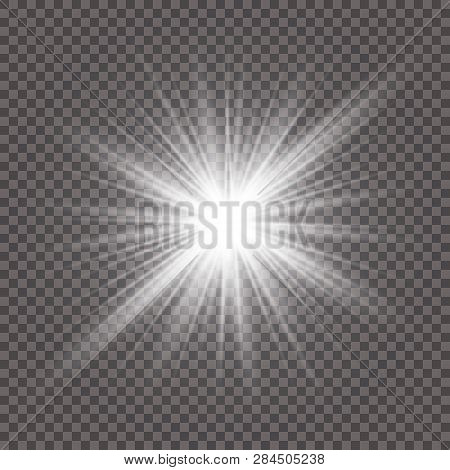 The White Glowing Light Explodes With A Blast With A Transparent One. Vector Illustration For Perfec