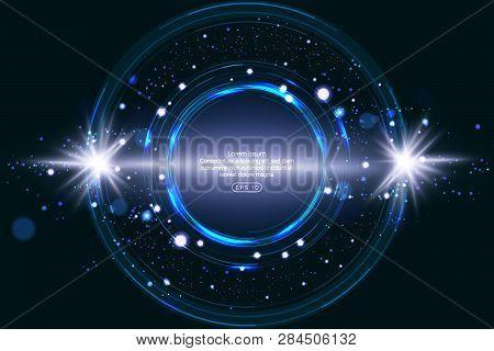 Luminous Electric Circle Lightning Atmospheric Phenomenon Realistic Image On Dark Night Sky Blue Dec