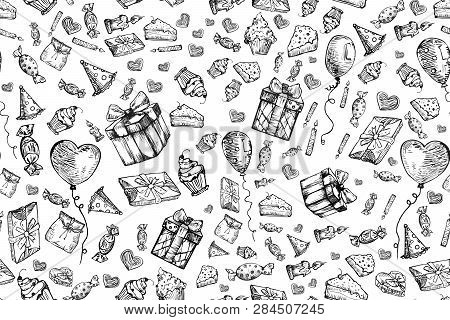 Happy Birthday Seamless Pattern Background. Doodles Birthday Sets, Party Blowouts, Party Hats, Gift