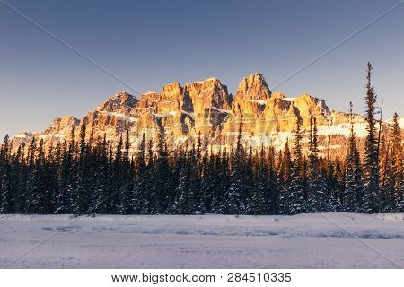 Castle Mountain Is A Mountain Located Within Banff National Park In The Canadian Rockies, Approximat