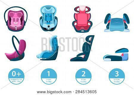 Child, Infant And Newborn Baby Car Seats. Vector Isolated Cartoon Icons. Safety Automobile Travel Co