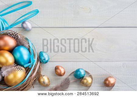 Beautiful Happy Easter Holiday Greeting Banner With Easter Nest With Colored Eggs And Decorated With