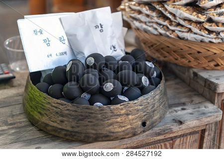 Jeonju, South Korea - September 2018: Black Eggs Sold On The Street Of Jeonju Hanok Village, Popular
