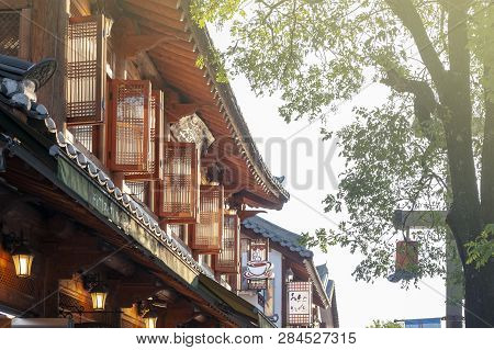 Jeonju, South Korea - September 2018: Upper Floor Of Ancient House Built In Korean Traditional Archi