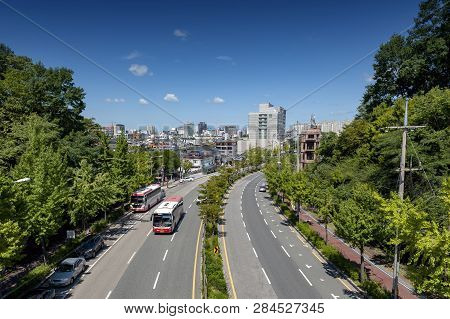 Jeonju, South Korea - September 2018: Girin-daero Road In City Of Jeonju Near Jeonju Hanok Village,