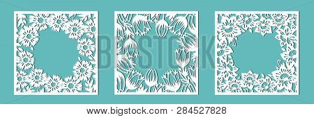 Tulip, Cornflower, Daffodil. A Set Of Floral Frames For Cutting Out Of Paper, Laser Or Plotter. Vect