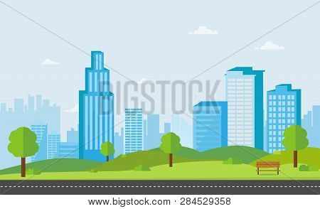 Public Park With Bench Main Street City With Sky And Cityscape Background.beautiful Nature Scene Wit