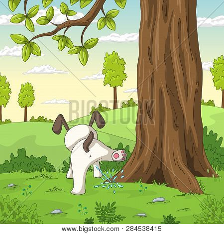Young Dog Is Peeing On A Tree. Vector Illustration With Separate Layers.