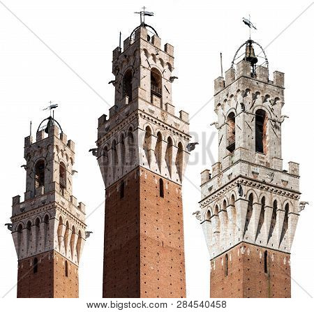 Torre Del Mangia 87 M. (tower Of Mangia) Isolated On A White Background. Siena, Tuscany, Italy, Euro