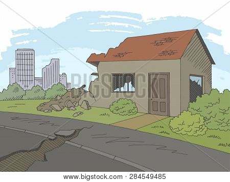 Earthquake Graphic Color Landscape City Sketch Illustration Vector