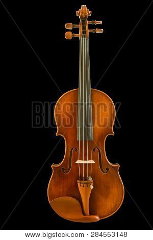 Front View Of Vintage Violin Isolated On Black Background, Clipping Path