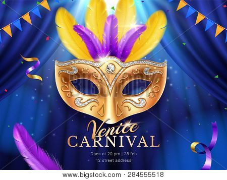 Carnival Or Masquerade Colombina Golden Mask At Mardi Gras Parade Banner. Fat Tuesday Poster With Fe