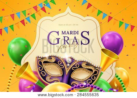 Purple Mask With Diamonds For Carnival At Mardi Gras Invitation Flyer. Balloons And Horns, Beads And