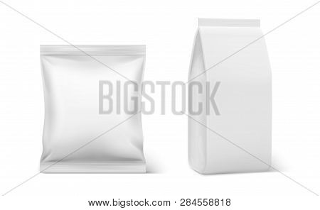 Realistic Pillow Pack. Coffee Doy Blank Mockup, Plastic Blank Food Packaging, Doy Pouch Pillow Bag V