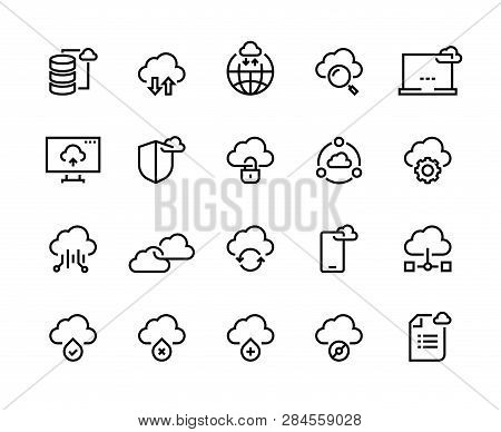 Cloud Computing Line Icons. Data Storage Technology Information Infrastructure System Data. Cloud Ac