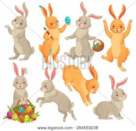 Easter Bunny. Jumping Rabbit, Dancing Funny Bunnies Animals And Rabbits Easters Eggs Vector Cartoon
