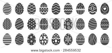 Easter Eggs Silhouette. Cute Easters Celebration Egg, Paschal Pattern And Decorated Eggs Vector Silh